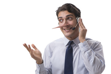 Businessman on the phone lying to his opponent