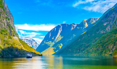Fototapeta Aurlandsfjord - unesco enlisted natural heritage site - in Norway