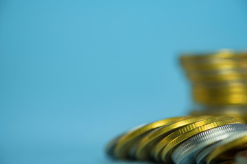 Stacks of coins with copy space for business and financial concept. shallow focus.