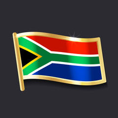 flag of  South Africa in the form of badge, flat image