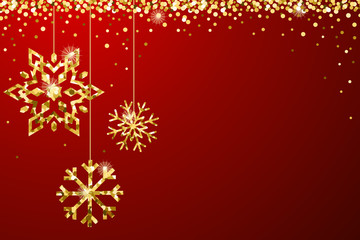 Gold Red Sparkle Ornaments Background Border Vector 1