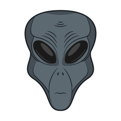 Alien face. Extraterrestrial head icon. Hand drawn humanoid. Concept of martian space invader. Vector illustration.