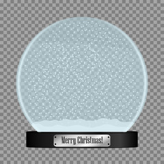 Glass snow globe. Realistic snowglobe ball with flying snowflakes isolated on transparent background. Vector illustration.