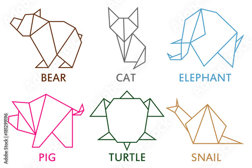 Origami animals collection. Set of line geometric shape for art of ...