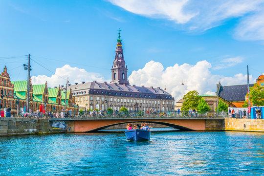 the Borsen and Christiansborg slot palace in Slotsholmen, in Copenhagen, Denmark