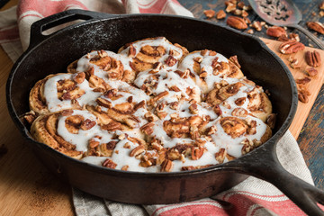 Cinnamon Rolls in Cast Iron Skillet