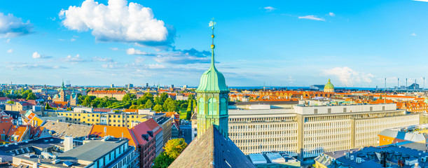 Aerial view of copenhagen including rosenborg slot and the marble church.