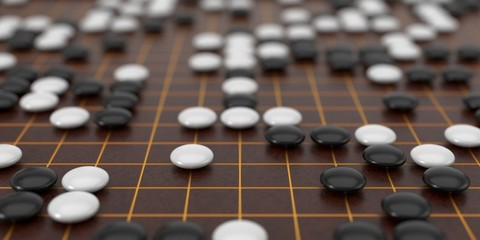 Traditional asian goban board and weiqi go game. 3d illustration