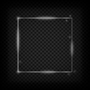 Silver glowing frame. Metal shiny square banner on transparent background. Vector illustration.