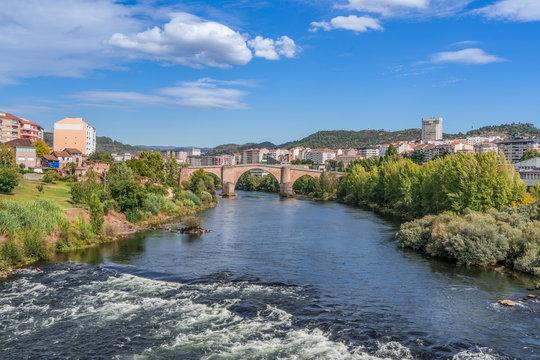 Overlook bridge and river Minho in the city of Ourense in Spain