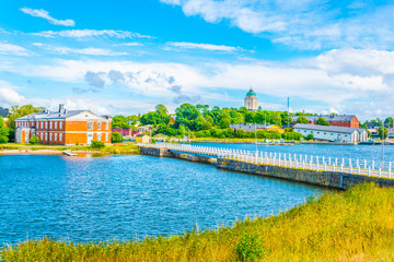 View of a bridge connecting island of the suomenlinna archipelago in Finland.