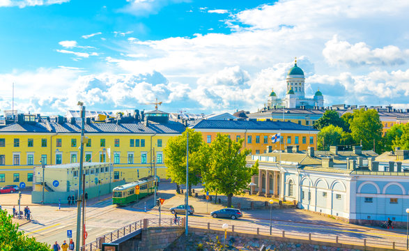 Aerial view of Helsinki with the Helsinki cathedral rising above surrounding cityscape, Finland.
