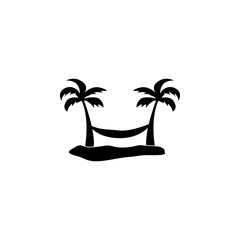hammock between two palm trees icon