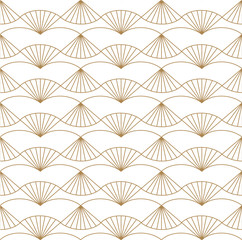 Japanese fan pattern vector. Gold geometric background texture.