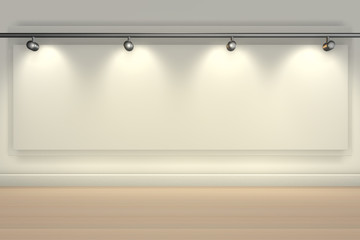 Wall brightly lit with spotlights and blank copy space -3d rendering