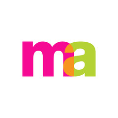 Initial letter ma, overlapping transparent lowercase logo, modern magenta orange green colors