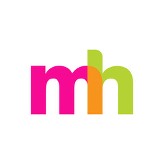 Initial letter mh, overlapping transparent lowercase logo, modern magenta orange green colors