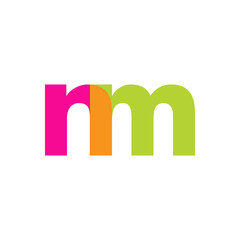 Initial letter nm, overlapping transparent lowercase logo, modern magenta orange green colors
