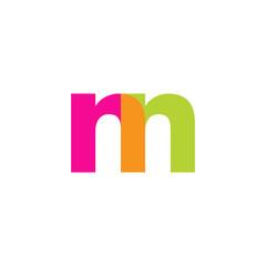 Initial letter nn, overlapping transparent lowercase logo, modern magenta orange green colors