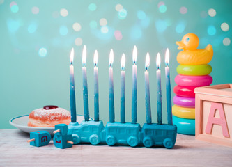 Jewish holiday Hanukkah for kids with toys concept