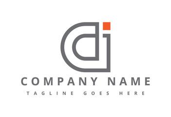 logo letter c, d and j flat line