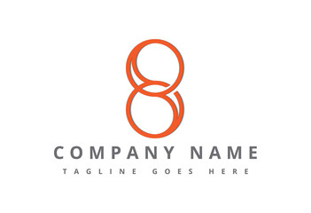 logo number 8 flat line infinity icon  Wall mural