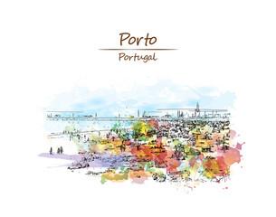 Watercolor sketch with color splash of Beach in Porto, Portugal. Vector illustration.