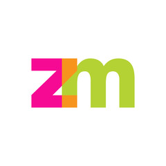 Initial letter zm, overlapping transparent lowercase logo, modern magenta orange green colors