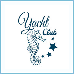 Yacht Club Badge With Seahorse