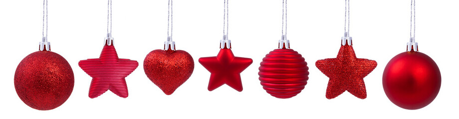 A set of christmas tree decoration red ball isolated on white background for your design.