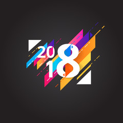 happy new year 2018. Vector abstract design background.