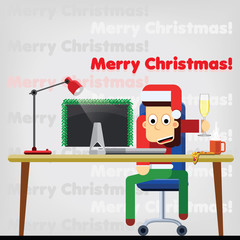 Character. The office worker is celebrating New Year and Christmas with a glass of champagne. Vector. Flat.