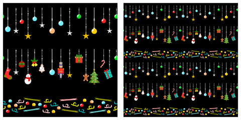 Christmas or new year elements seamless pattern. Single pattern is shown in the left. The example of assembly seamless is shown in the right.