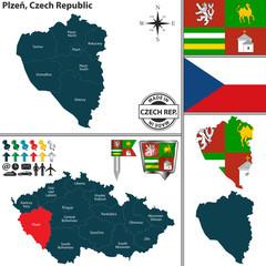 Map of Plzen, Czech Republic