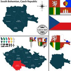 Map of South Bohemian, Czech Republic