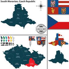 Map of South Moravian, Czech Republic