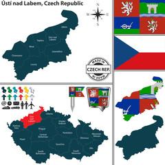 Map of Usti nad Labem, Czech Republic