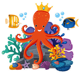 Octopus wearing crown underwater