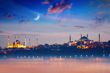 Famous landmarks Hagia Sophia and Blue Mosque in Istanbul, Turkey