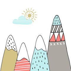 Cute hand drawn nursery poster with cartoon mountains and sun in scandinavian style. Color vector illustration