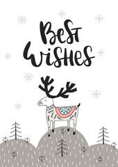 Aluminium Prints Christmas Best wishes - Hand drawn Christmas card in scandinavian style with monochrome deer and lettering.