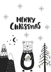 Aluminium Prints Christmas Merry Christmas - Hand drawn Christmas card in scandinavian style with monochrome bear and lettering.