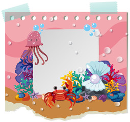 Border template with cute animals underwater
