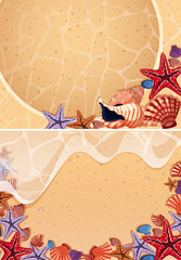 Two backgrounds with seashells on the beach