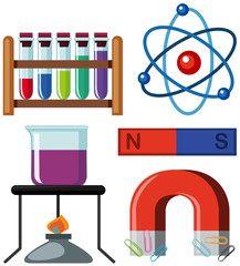 Different science equipments on white background