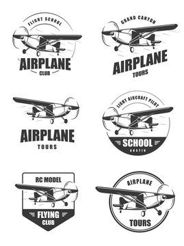 Light airplane related emblems. Set of vintage airplane emblems, badges and icons. Isolated lite airplane side view.
