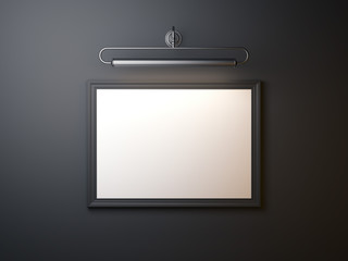 Black blank picture frame. 3d rendering