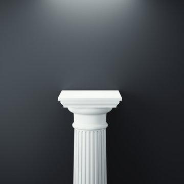 White greek column. 3d rendering