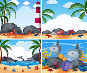 Four ocean scenes with animals and beach