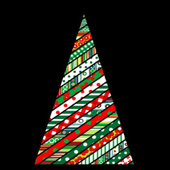 Patchwork design of Christmas tree on black background